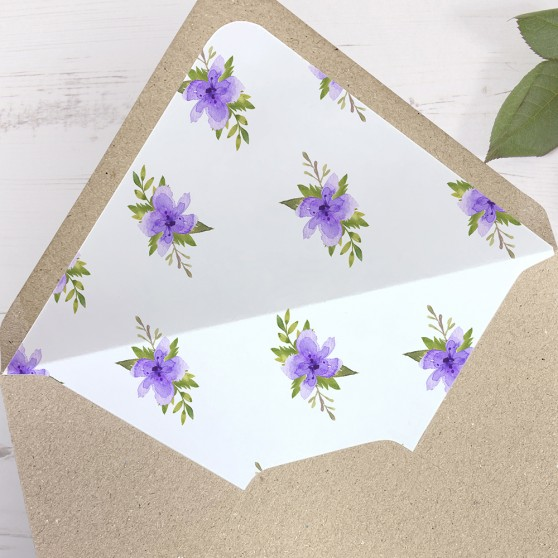 'Pretty in Purple' Printed Envelope Liner with Envelope