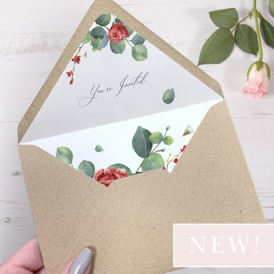 'Red Eucalyptus' Printed Envelope Liner Sample with Envelope