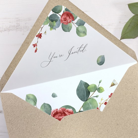 'Red Eucalyptus' Printed Envelope Liner with Envelope