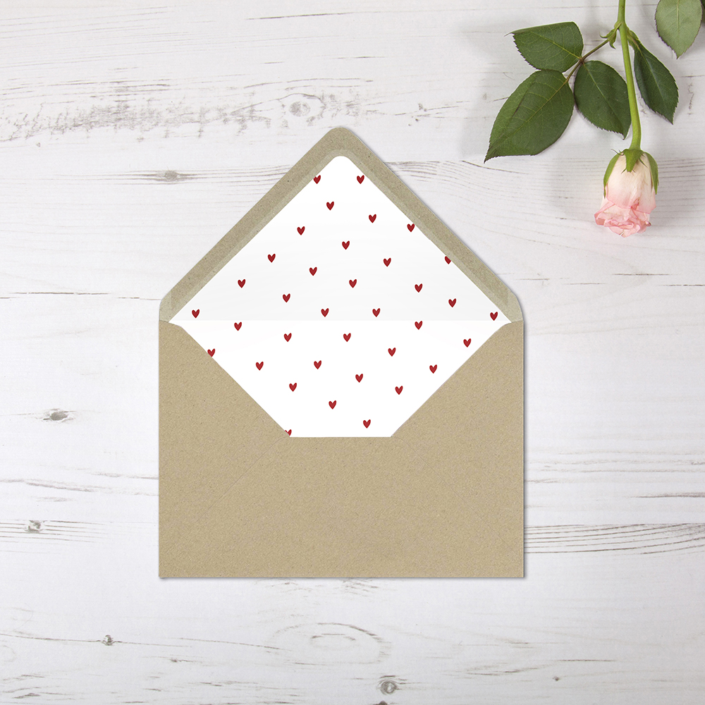 'Red Heart' Printed Envelope Liner Sample with Envelope