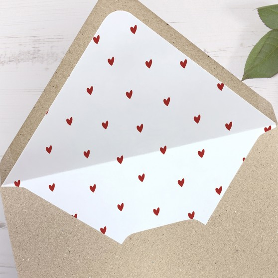 'Red Heart' Printed Envelope Liner with Envelope