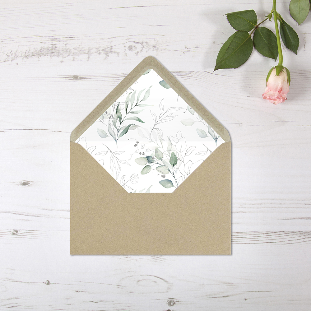 'Silver Eucalyptus' Printed Envelope Liner Sample with Envelope