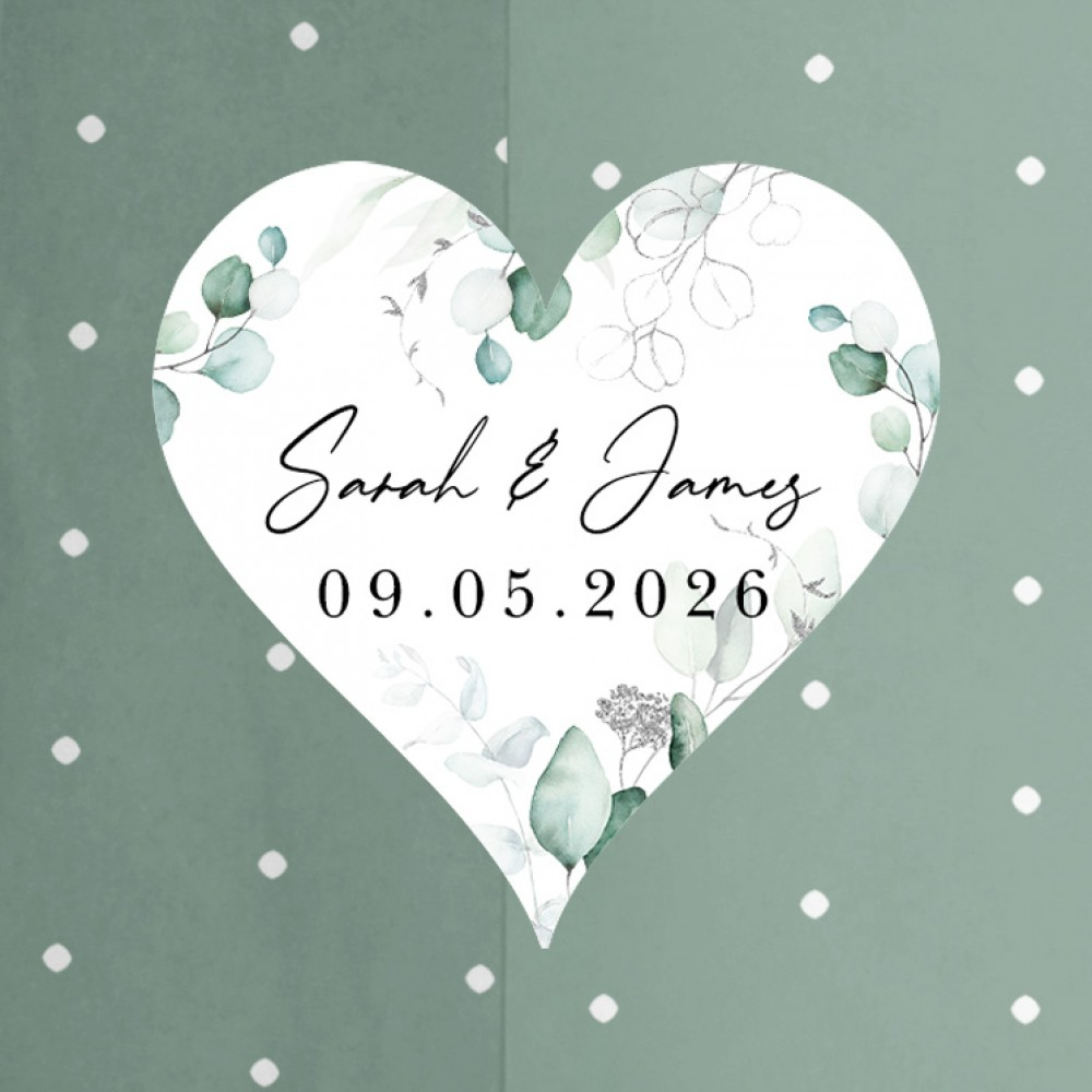 'Silver Eucalyptus' Standard Wedding Invitation Sample