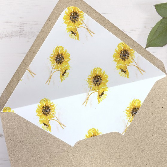 'Sunflower' Printed Envelope Liner Sample with Envelope