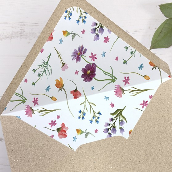 'Wild Floral' Printed Envelope Liner Sample with Envelope
