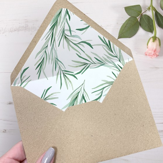 'Willow Eucalyptus' Printed Envelope Liner Sample with Envelope