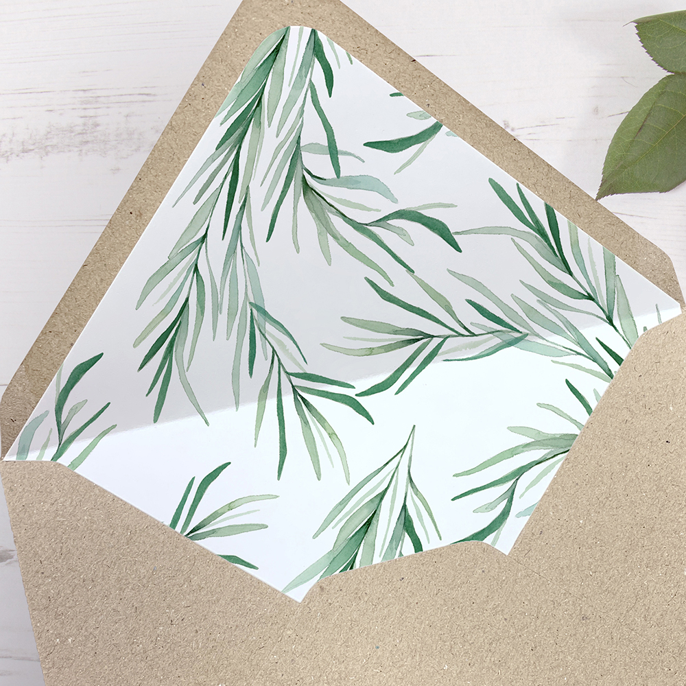 'Willow Eucalyptus' Printed Envelope Liner with Envelope