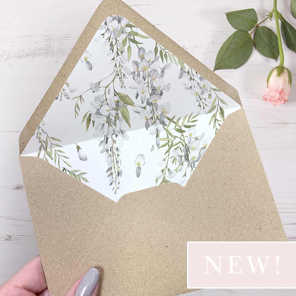 'White Wisteria' Printed Envelope Liner with Envelope