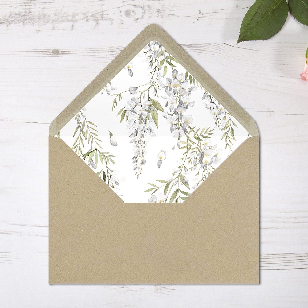 'White Wisteria' Printed Envelope Liner Sample with Envelope
