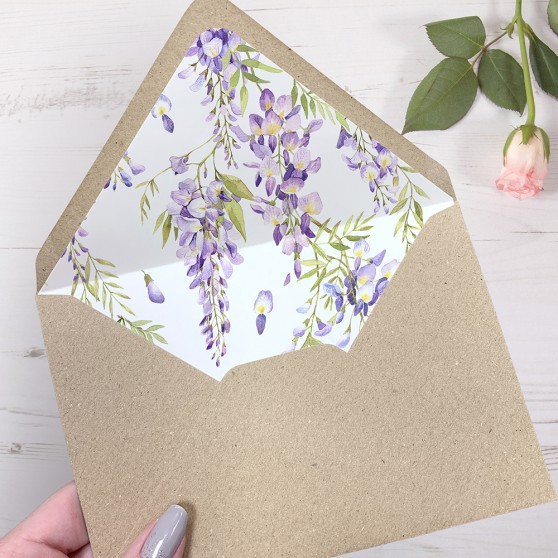 'Wisteria' Printed Envelope Liner Sample with Envelope