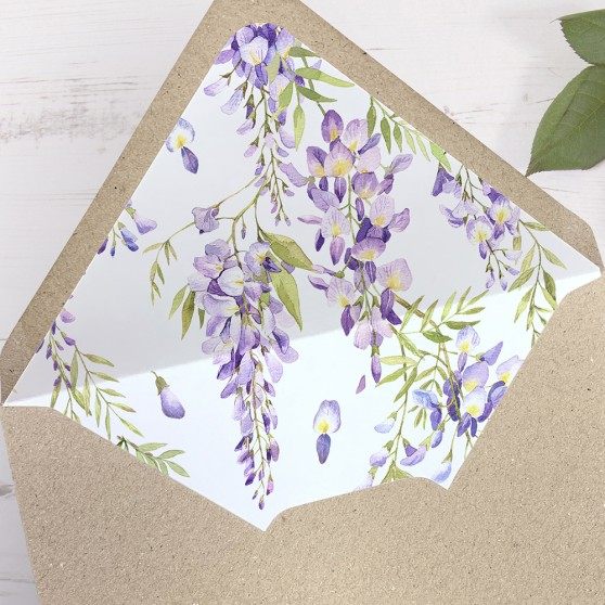 'Wisteria' Printed Envelope Liner with Envelope