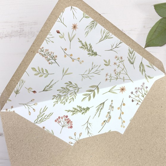 'Woodland Floral' Printed Envelope Liner with Envelope