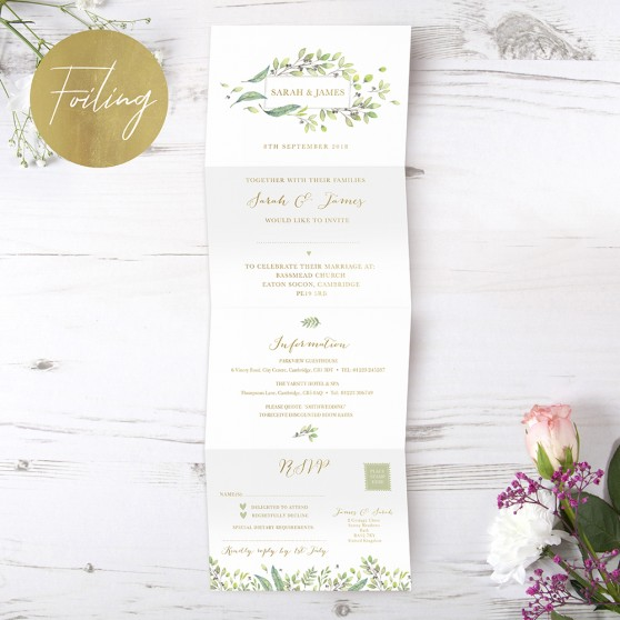 'Arabella' Folded Foil Invite Sample
