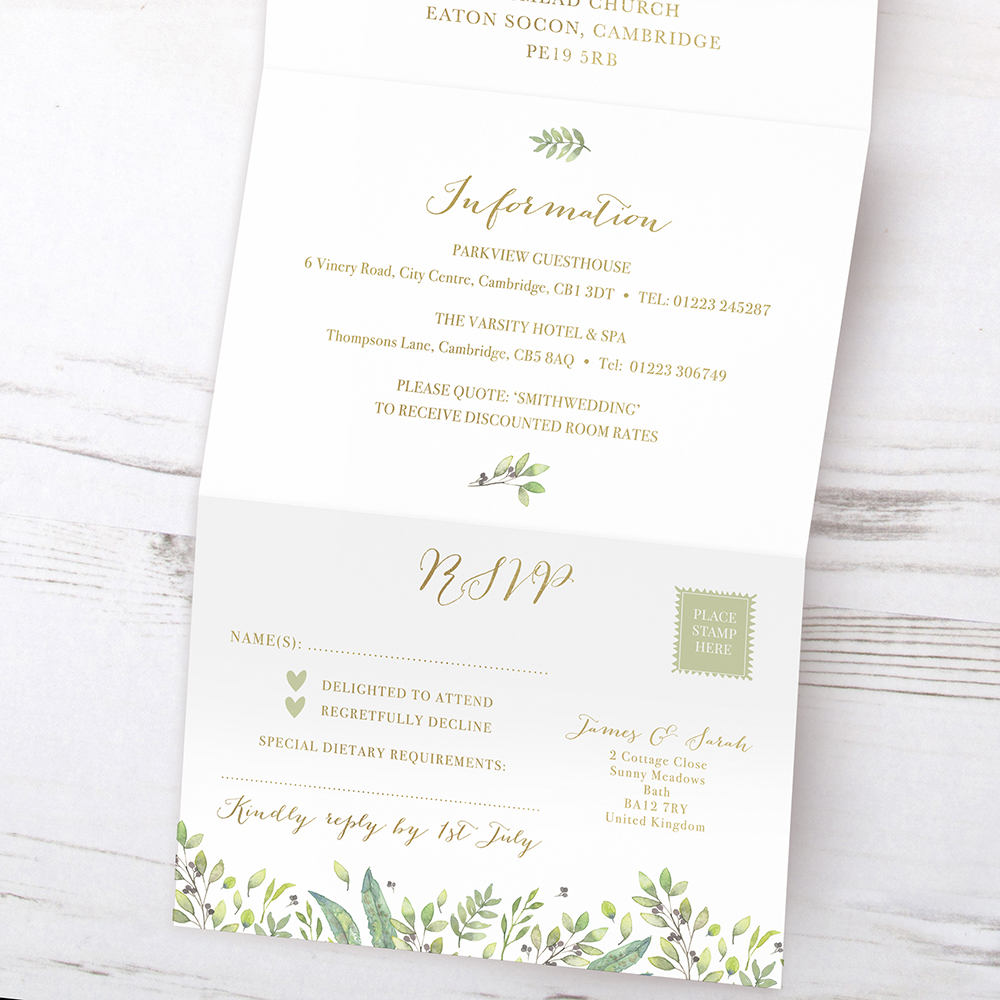 'Arabella' Folded Foil Invite Sample
