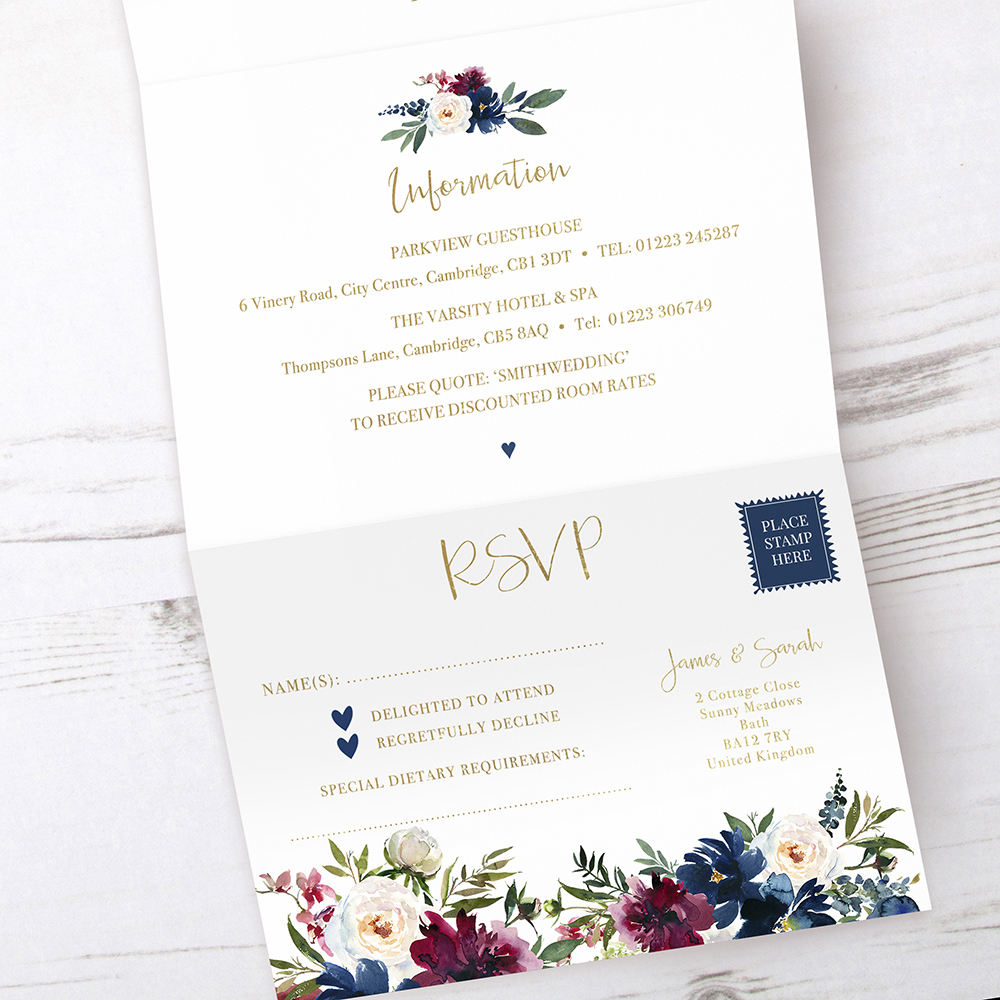 'Blue Velvet' Folded Foil Invite