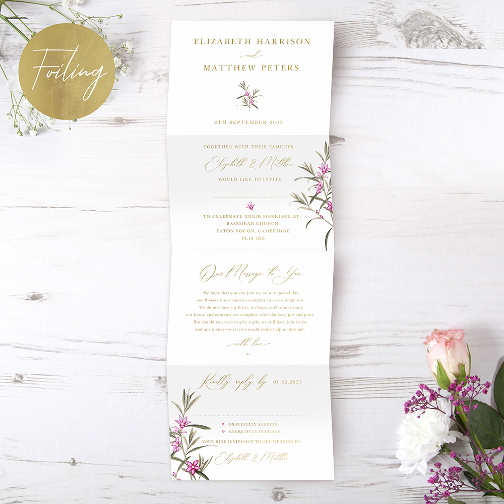 'Pink Botanical' Folded Foil Invitation
