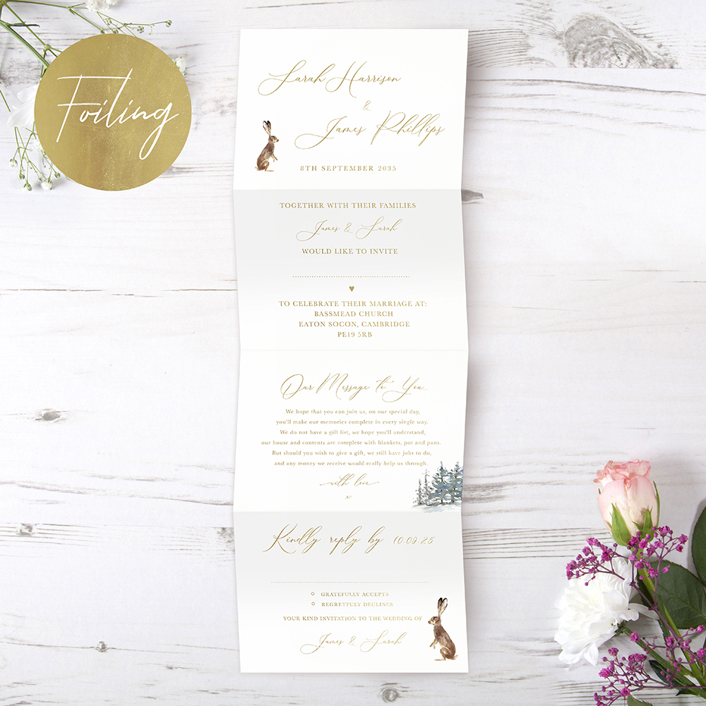 'Christmas Hare' Folded Foil Wedding Invitation