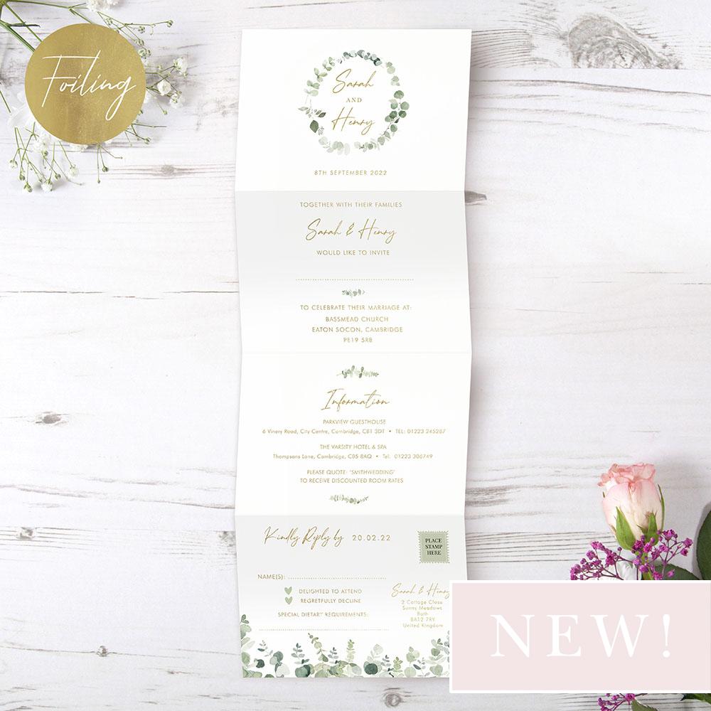 'Classic Eucalyptus' Folded Foil Wedding Invitation