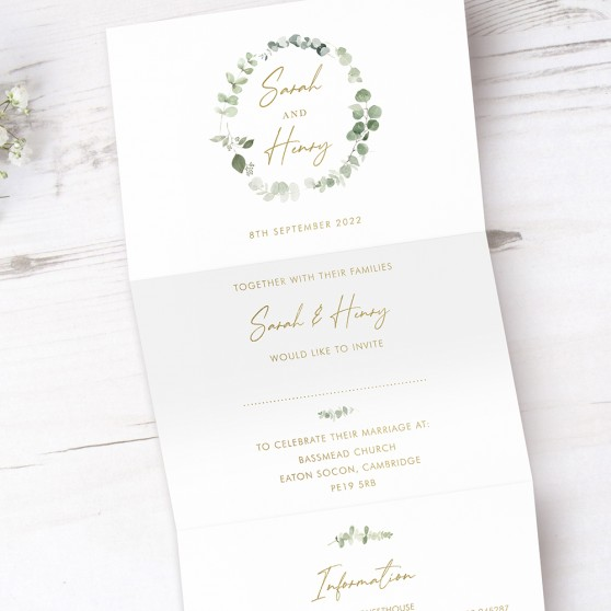 'Classic Eucalyptus' Folded Foil Wedding Invitation