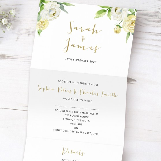 'Daphne' Folded Foil Invite Sample