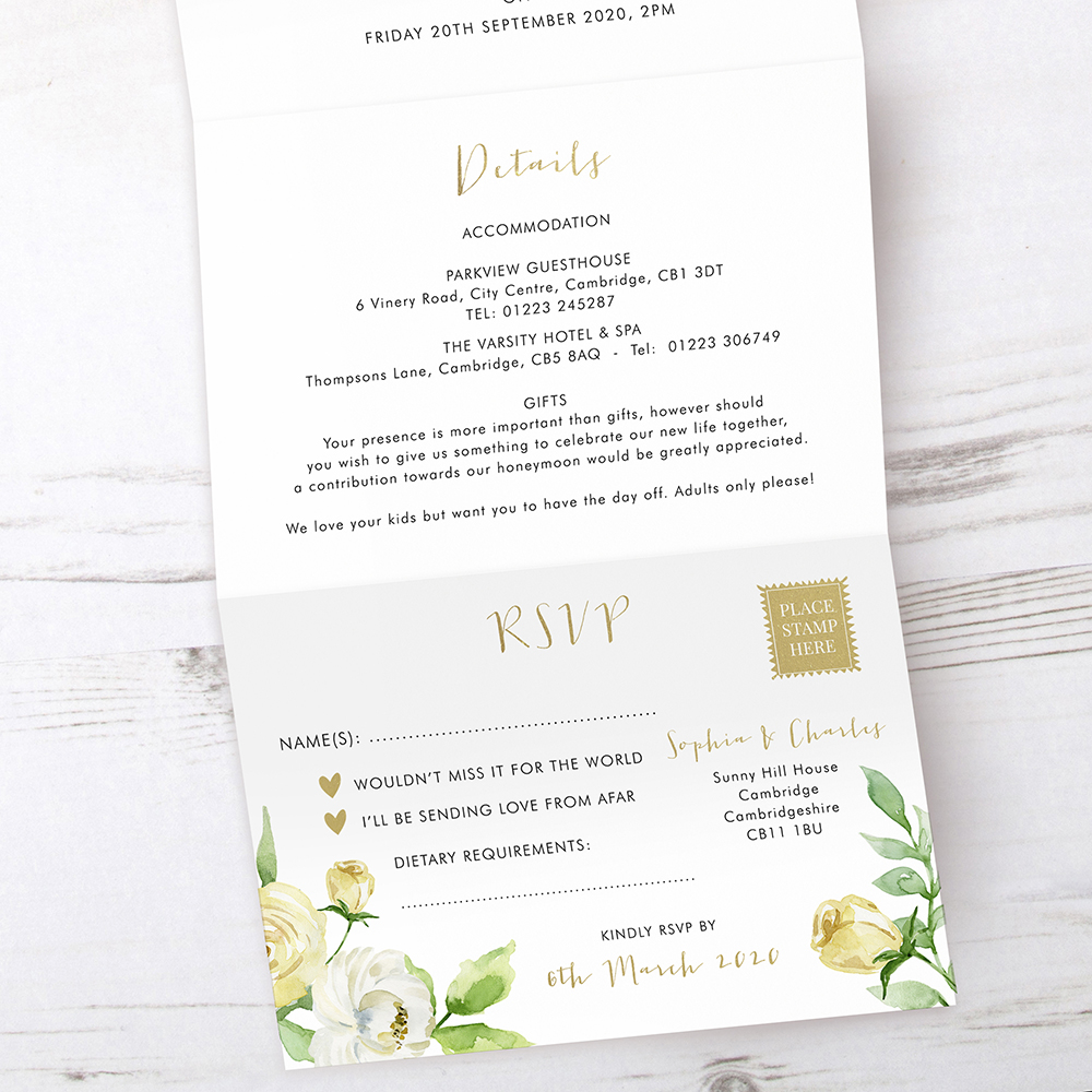 'Daphne' Folded Foil Invite