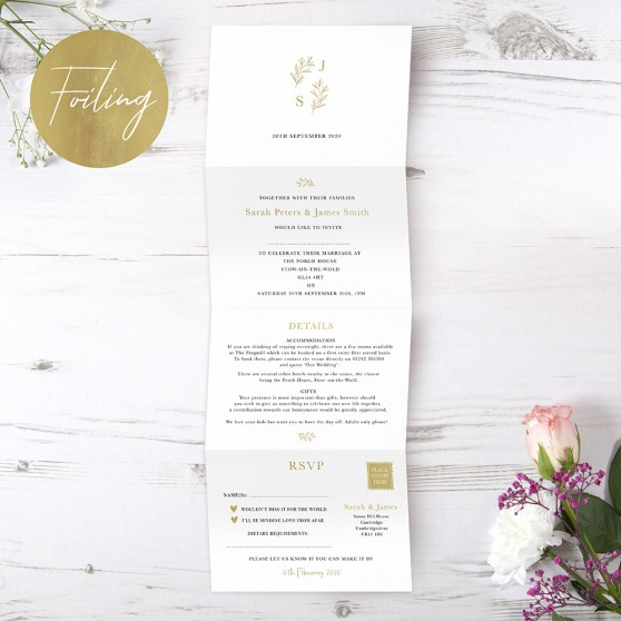 'Florence' Folded Foil Invite Sample