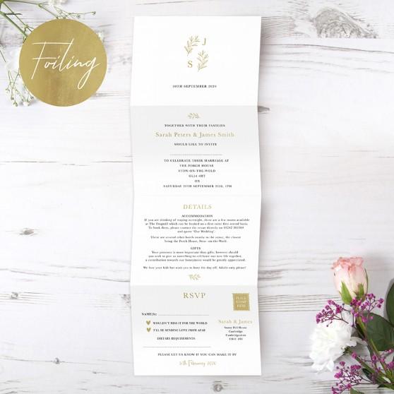 'Florence' Folded Foil Invite