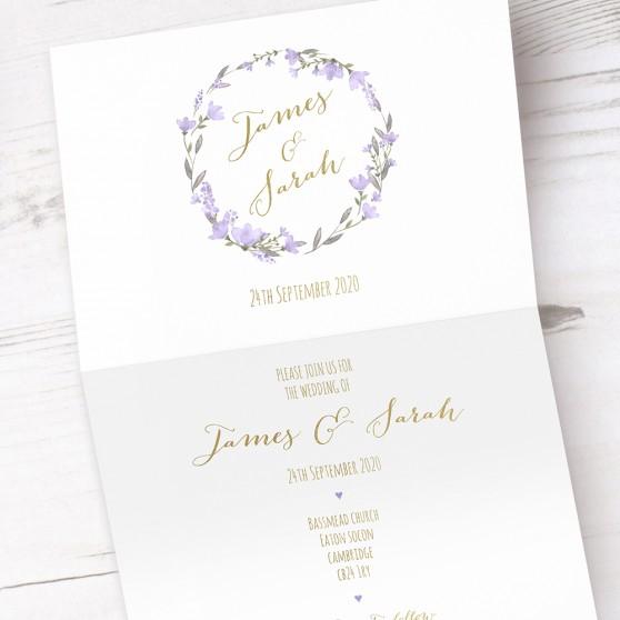 'Lavender Floral' Folded Foil Invite