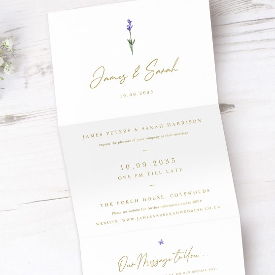 'Lavender' Folded Foil Invitation