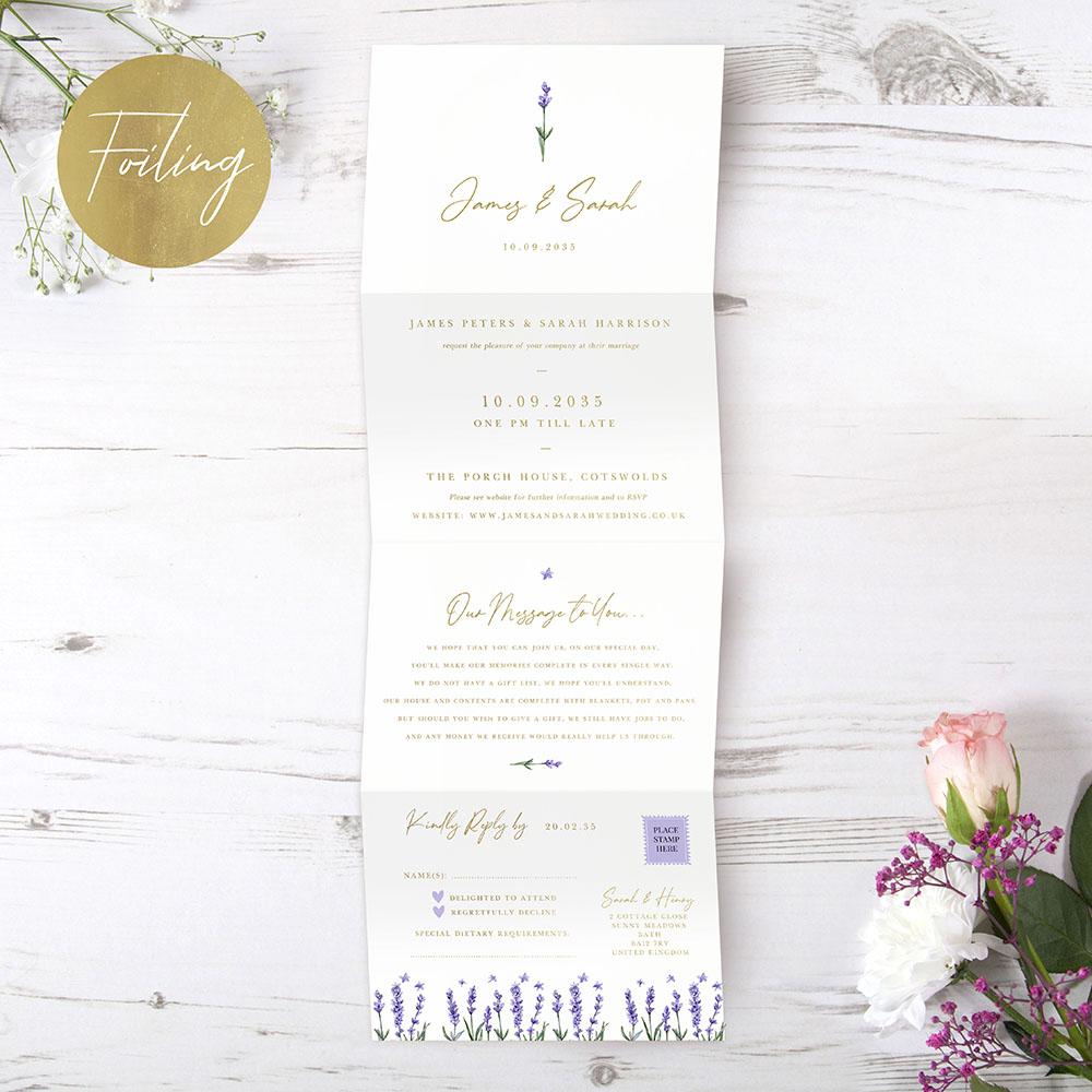 'Lavender' Folded Foil Invitation