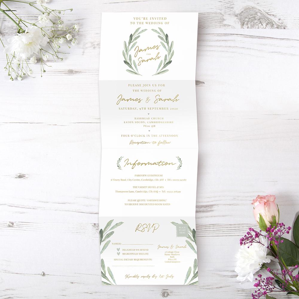 'Olive' Folded Foil Invite