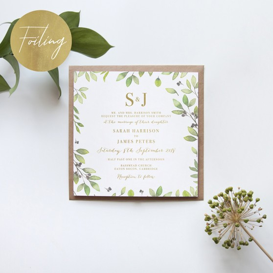 'Arabella' Square Foil Invitation