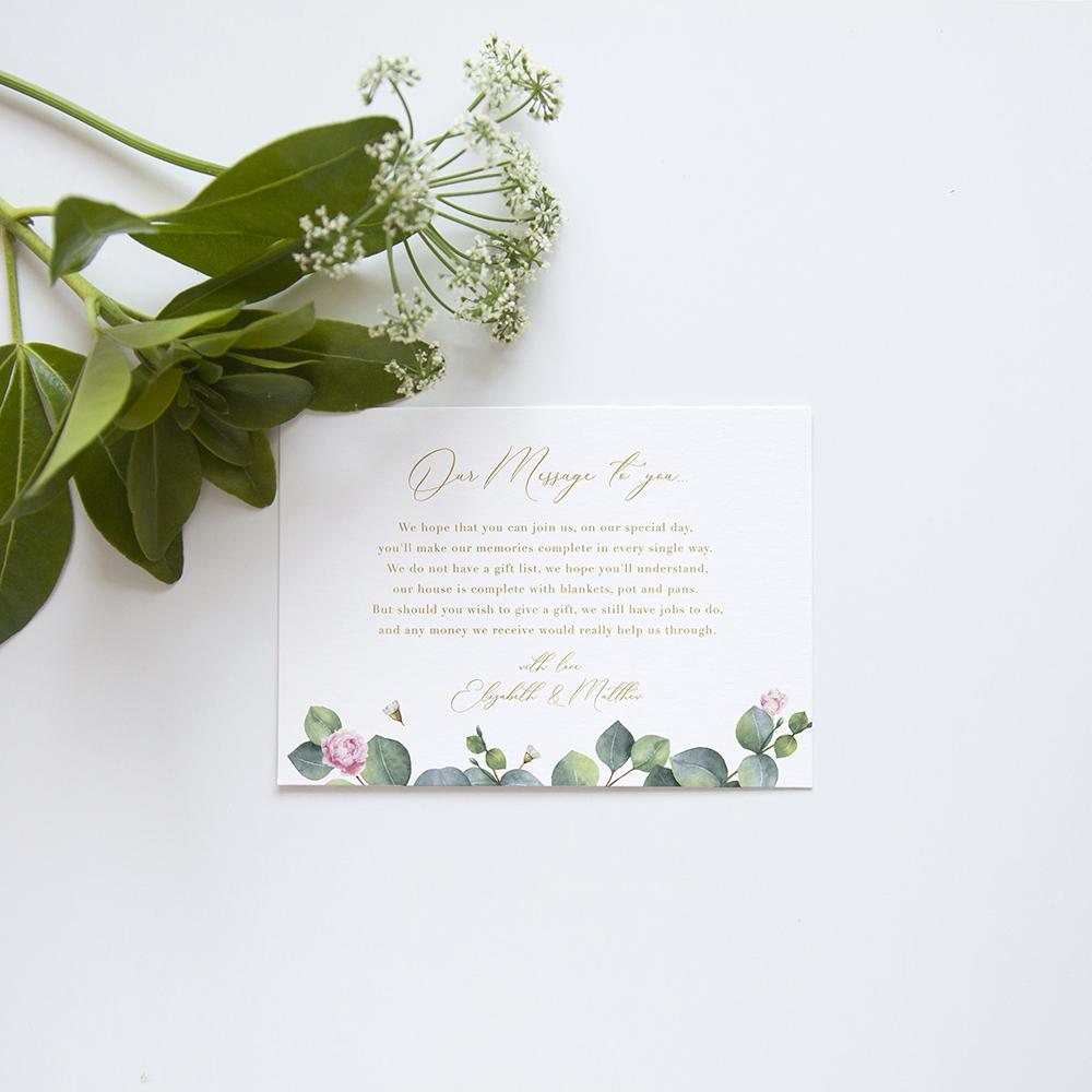 'Eucalyptus Blush' Square Foil Invitation