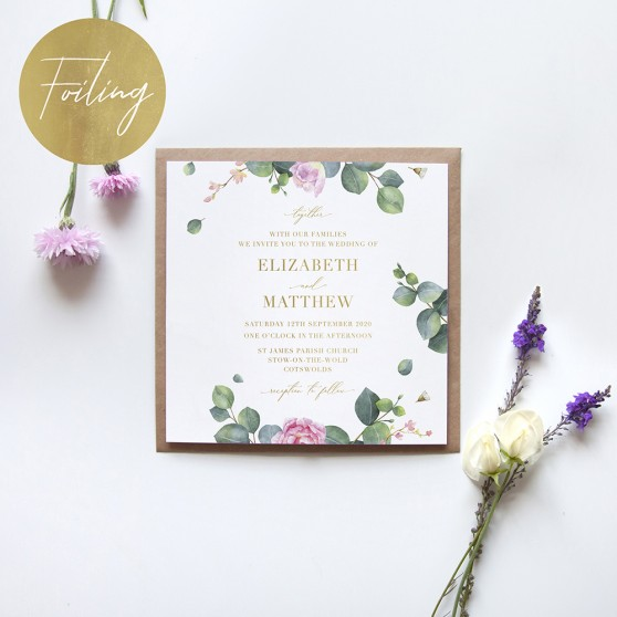 'Eucalyptus Blush' Square Foil Invitation