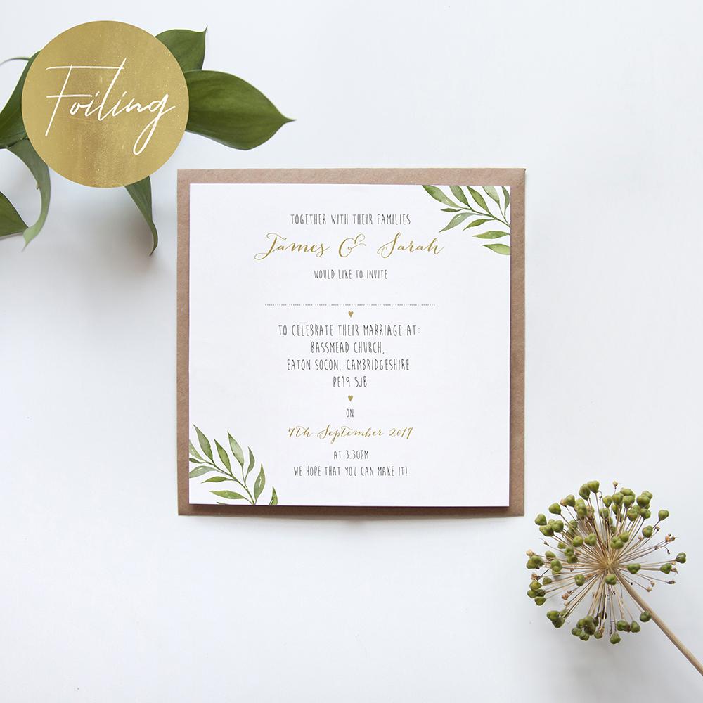 'Green Leaf' Square Foil Invitation