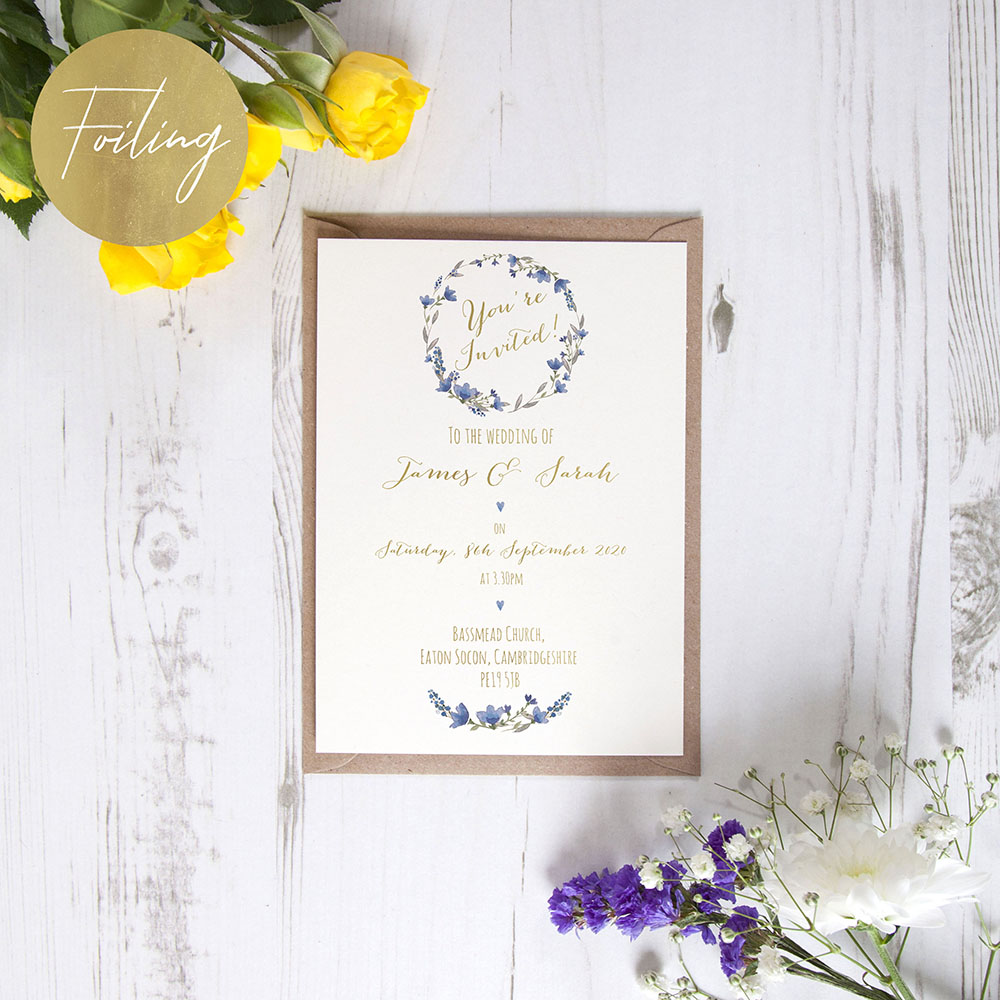 'Blue Floral Watercolour' Standard Foil Invite Sample