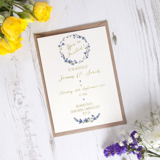 'Blue Floral Watercolour' Standard Foil Invite