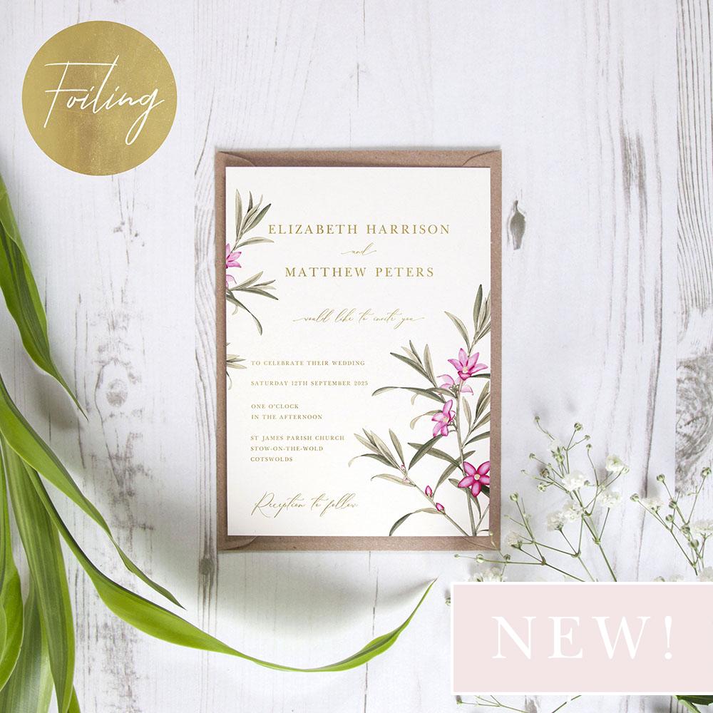 'Pink Botanical' Standard Foil Invite