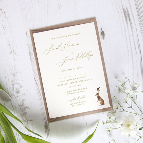 'Christmas Hare' Standard Foil Wedding Invitation
