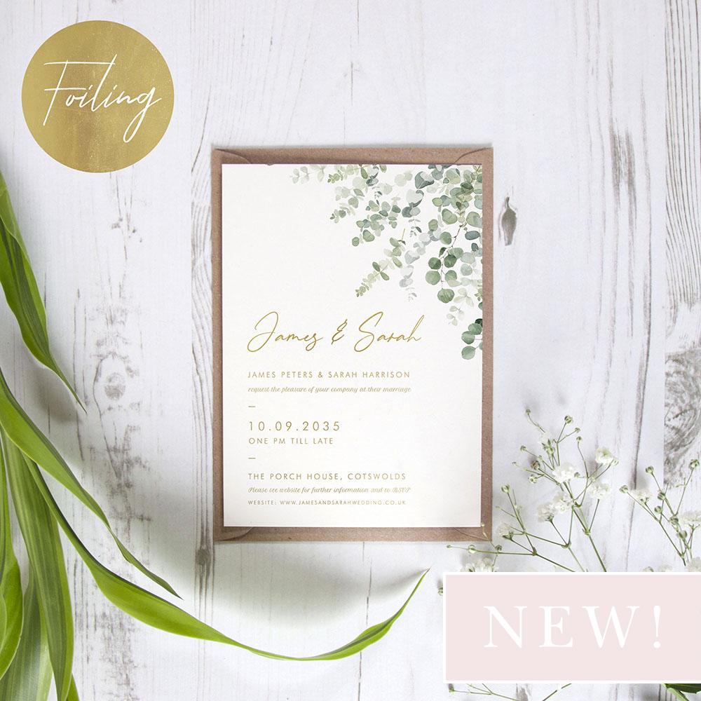 'Classic Eucalyptus' Standard Foil Invite