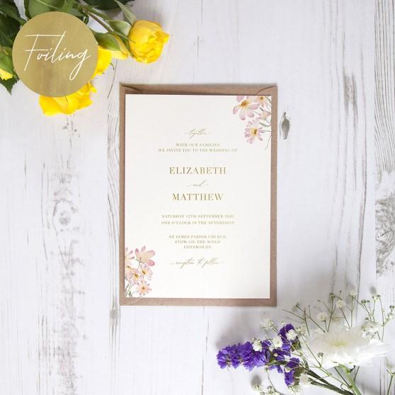 'Daisy Pink' Standard Foil Invite