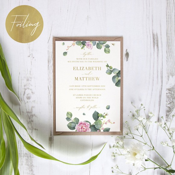 'Eucalyptus Blush' Standard Foil Invite Sample