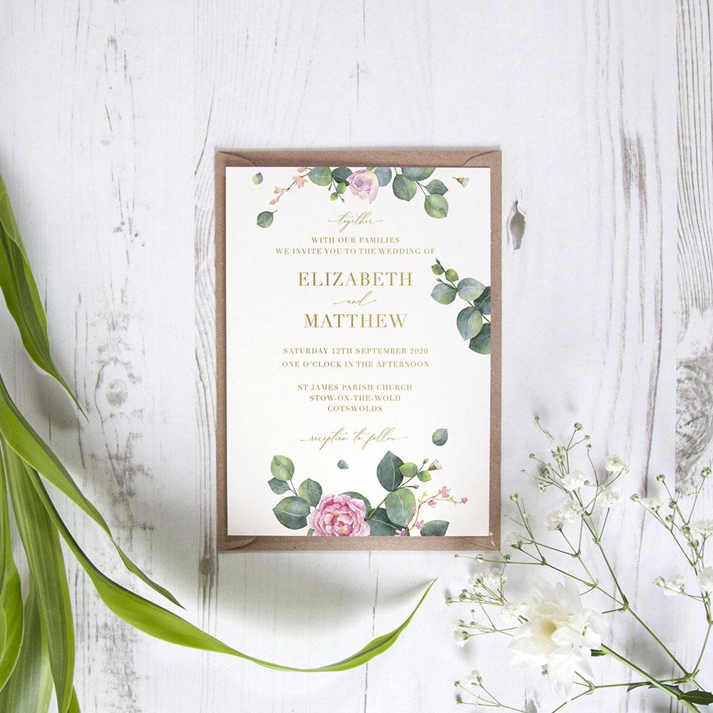 'Eucalyptus Blush' Standard Foil Invite