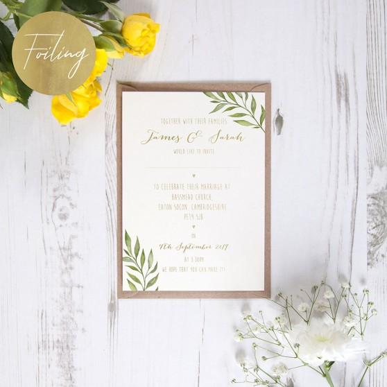 'Green Leaf' Standard Foil Invite