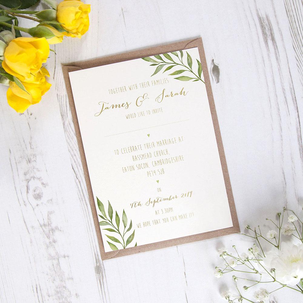 'Green Leaf' Standard Foil Invite