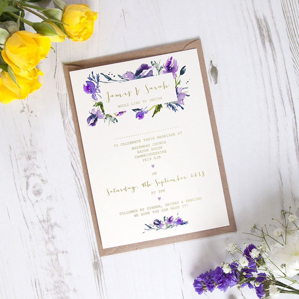 'Midnight Iris' Standard Foil Invite