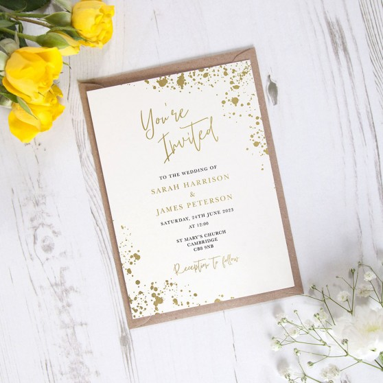 'Speckled' Standard Foil Wedding Invitation