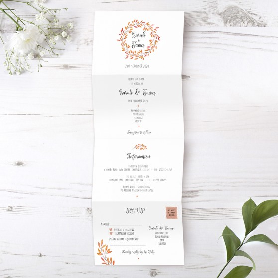 'Autumn Orange' Folded Invite Sample