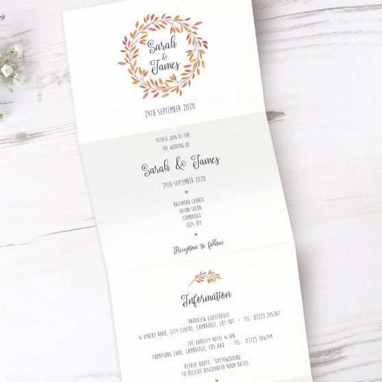 'Autumn Orange' Folded Invite