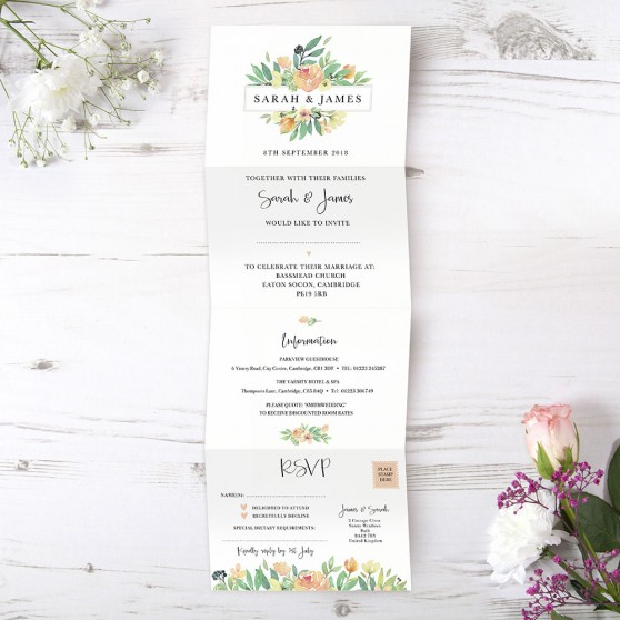 'Bella' Folded Invite Sample